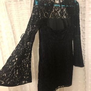 Express black lace long bell sleeve short dress
